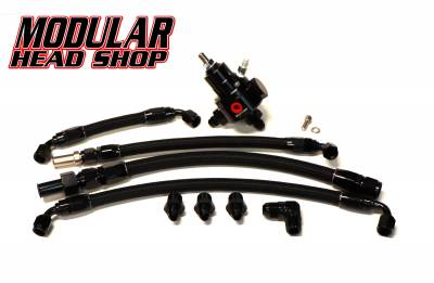 Modular Head Shop - MHS Return Style Fuel Line and Fitting Kit with Magnafuel Regulator for Victor Jr Intake Manifolds