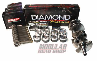 Modular Head Shop - Modular Head Shop 5.8L GT500 1200+ HP Competition Rotating Assembly - Cobra Jet Crankshaft, Manley Pro Series I-Beam Rods, Diamond 5.8L Series Pistons, King XP Bearings