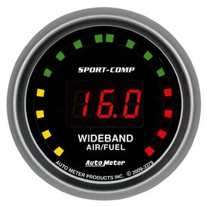 "Air/Fuel Wideband Gauges - Autometer - Auto Meter 3379 Sport-Comp Series Digital 2 1/16"" STREET Wideband A/F Kit"
