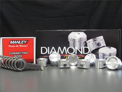 Engine Parts - Rod and Piston Combos - Excessive Motorsports  - 5.0L Coyote Diamond Pistons / Manley H-Beam Connecting Rods Combo
