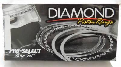 "Diamond Pro Select Piston Rings  - 0906 Series - Plasma Moly 1.5mm x 1.5mm x 3mm - Diamond Racing Products - Diamond Pro Select 09063700 - Plasma Moly Piston Rings 1.5mm x 1.5mm x 3mm - 3.700"" Bore"