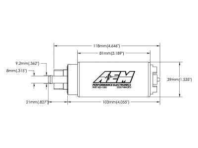 AEM  - AEM 50-1000 320LPH High Flow In-Tank Fuel Pump - Offset Inlet - Image 3