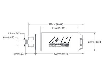 AEM  - AEM 50-1200 320LPH High Flow E85 Compatible In-Tank Fuel Pump - Offset Inlet - Image 3