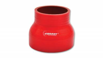"4 Ply Reinforced Silicone Couplers  - Reducer Couplers - Vibrant Performance - Vibrant Performance 2838R - Reducer Coupler, 1.75"" Inlet, 2.5"" Outlet x 3"" Length - Red"