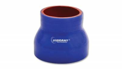 "4 Ply Reinforced Silicone Couplers  - Reducer Couplers - Vibrant Performance - Vibrant Performance 2764B - Reducer Coupler, 2.5"" Inlet, 3.5"" Outlet x 3"" Length - Blue"