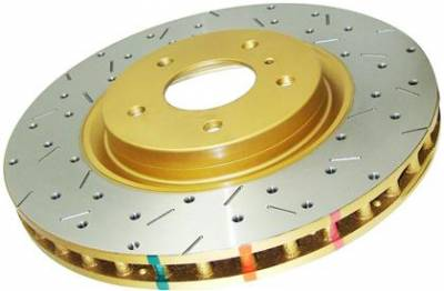 Brake Rotors  - 2011 - 2014 Mustang GT - Disc Brakes Australia  - DBA 42114XS - Drilled & Slotted 4000 Series Rotor w/ Gold Hat - 2005-2013 Ford Mustang GT / V6 - Rear