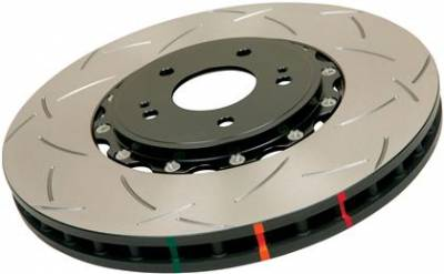 Brake Rotors  - 2011 - 2014 Mustang V6  - Disc Brakes Australia  - DBA 52113BLKXS - Slotted 5000 Series 2 Piece Rotor Assembled w/ Black Hat - 2005-2010 Ford Mustang V6 / GT And 2011-2013 V6 / GT - Front