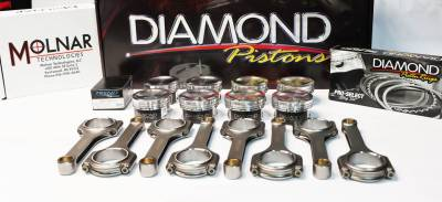 Engine Parts - Rod and Piston Combos - Modular Head Shop - Diamond 5.8L GT500 Series Piston / Molnar PWR ADR H-Beam Connecting Rod Combo